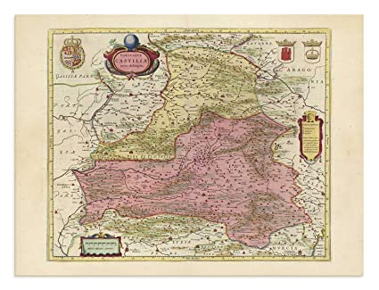 Map Of Spain Zaragoza.Amazon Com The Blaeu Prints Zaragoza Spain Castilla La Mancha