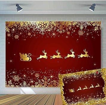 Amazon.com: TJ - Fondo de Navidad dorado rojo para decorar ...