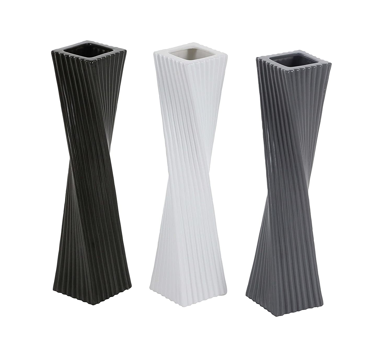 3 x 16 Black//White//Gray Deco 79 87720 Twisted Ceramic Vases Set of 3
