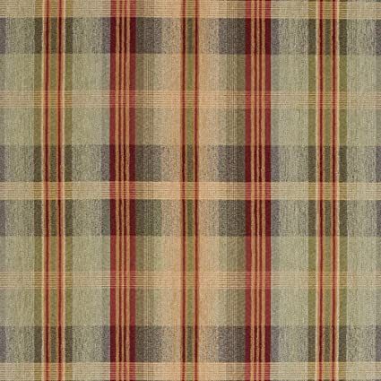 Amazon Com F140 Green Blue And Red Plaid Chenille Upholstery Grade