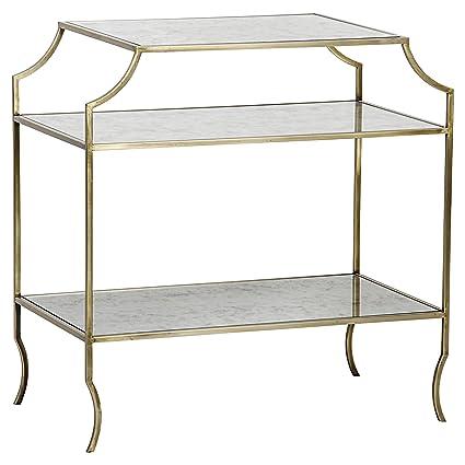 Kathy Modern Gold Antique Mirror Shelf 3 Tier Side Table