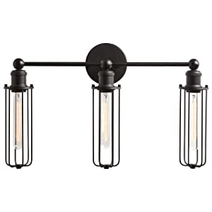 "Rivet Industrial Wall Sconce 3-Light Vanity Fixture, 13.5""H, With Bulb, Matte Black"