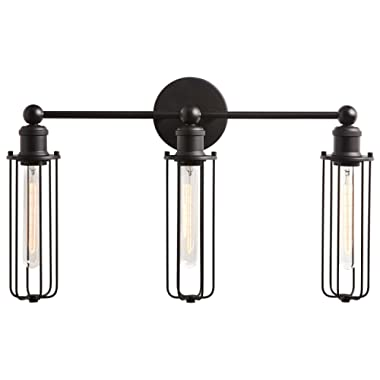 Rivet Industrial Wall Sconce 3-Light Vanity Fixture, 13.5 H, With Bulb, Matte Black