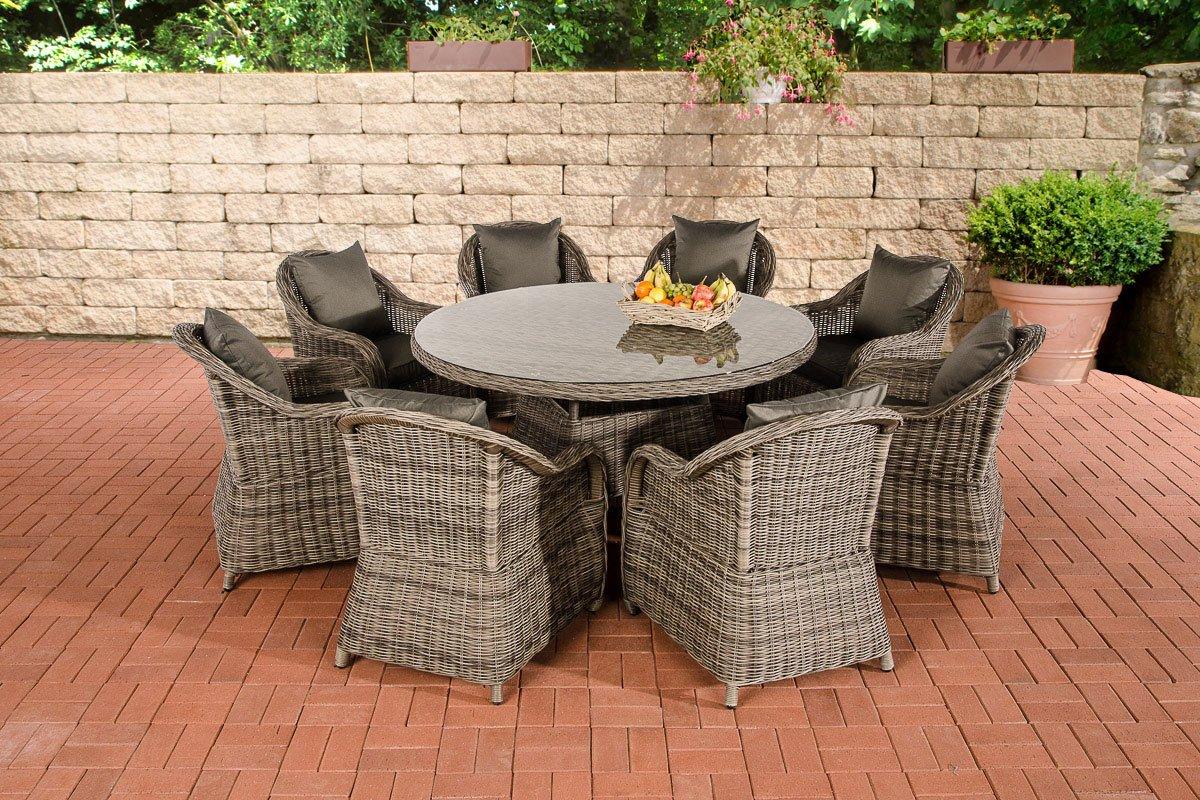 CLP Polyrattan Sitzgruppe STAVANGER XL grau-meliert (8 Sessel + Tisch rund Ø 150 cm + Sitzauflagen) grau-meliert, Bezugfarbe anthrazit
