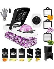 Mandoline Cuisine,TATUFY 9 en 1 Multifonction Professionnelle Coupe légumes, coupe fruits, coupe pommes de terre avec des couteaux Gants(Ne peut pas être utilisé pour le nettoyage du lave-vaisselle!)