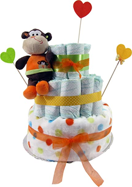 Tarta de pañales Dodot unisex. Modelo ahorro Lindos Sueños Mono Saltarín - Regalo para bebé