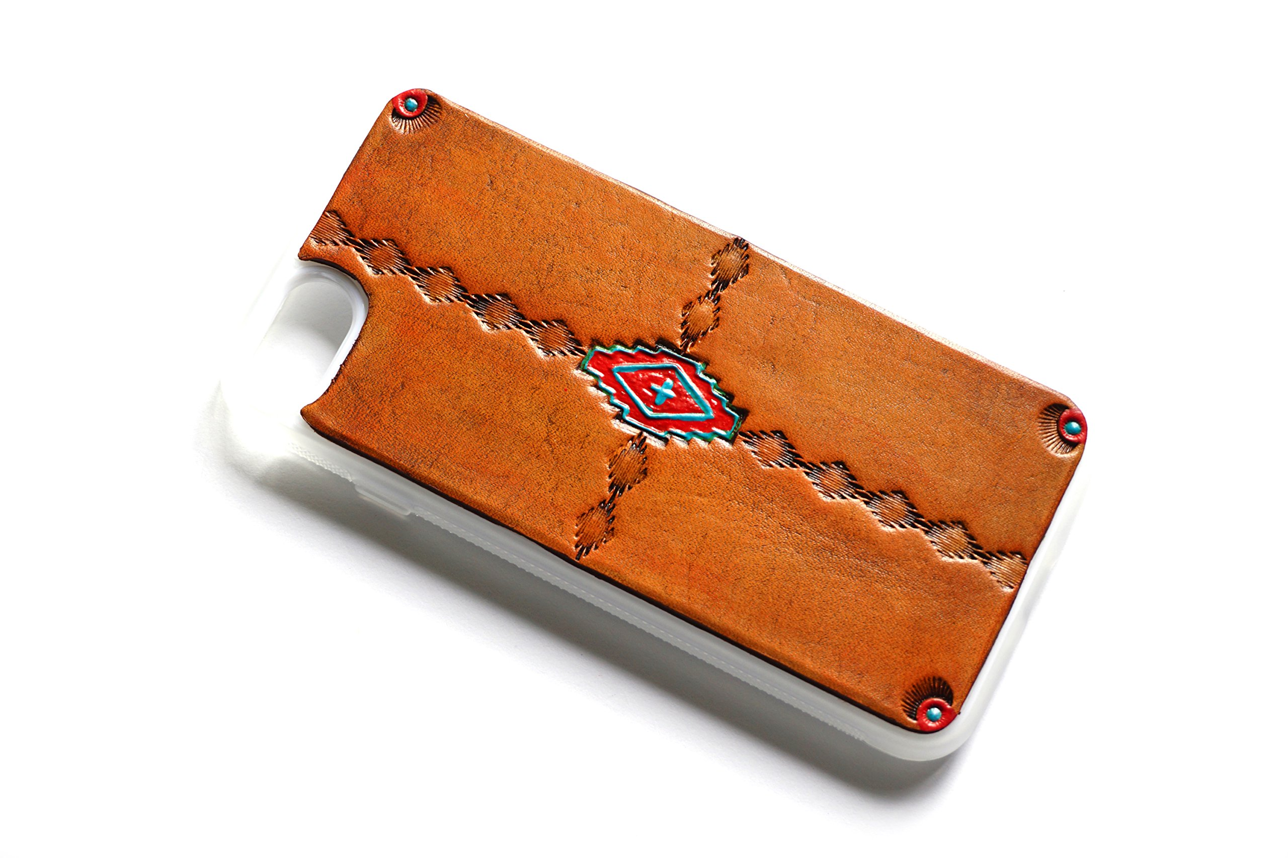 Leather iPhone 8 Plus Case Southwestern | The Lodgepole Case | Tan Handmade 5.5'' Hard Back Slim Fit Silicone Edges Protective Cowhide Leather iPhone Case by Lodgepole Leathercraft
