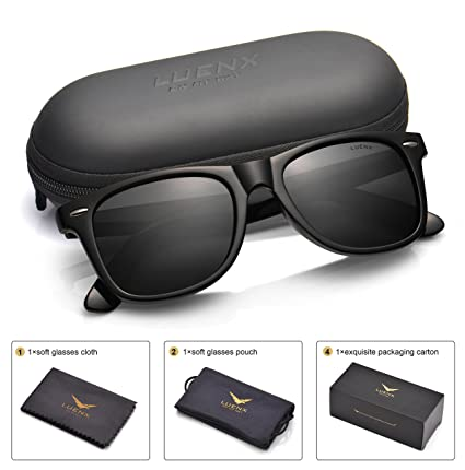 3bb54ad217 Mens Polarized Sunglasses for Womens UV 400 Protection Black Lens Glossy  Black Frame 54MM