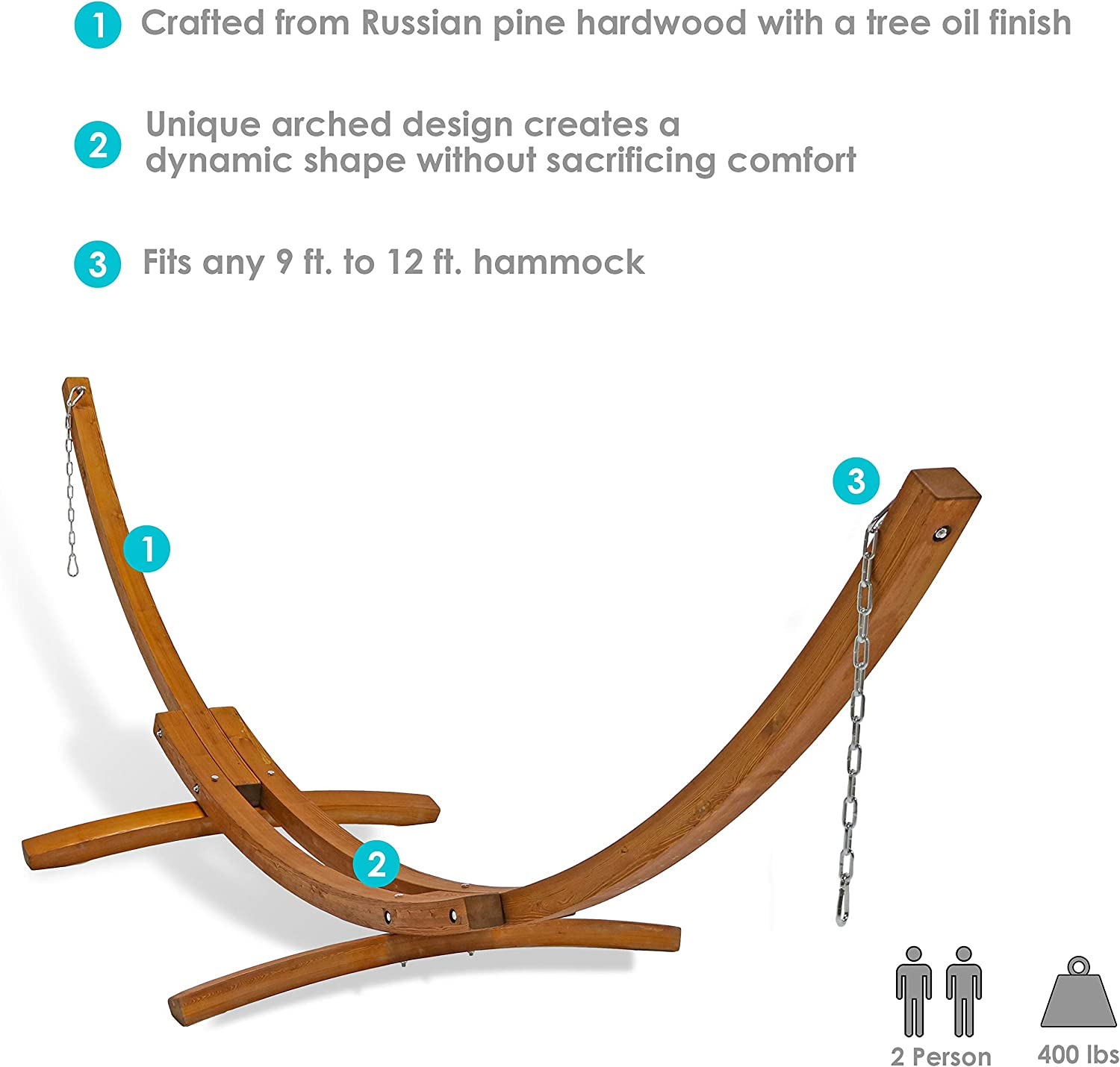 Sunnydaze Curved 13 ft Wooden Hammock Stand - 400 lbs Weight Capacity