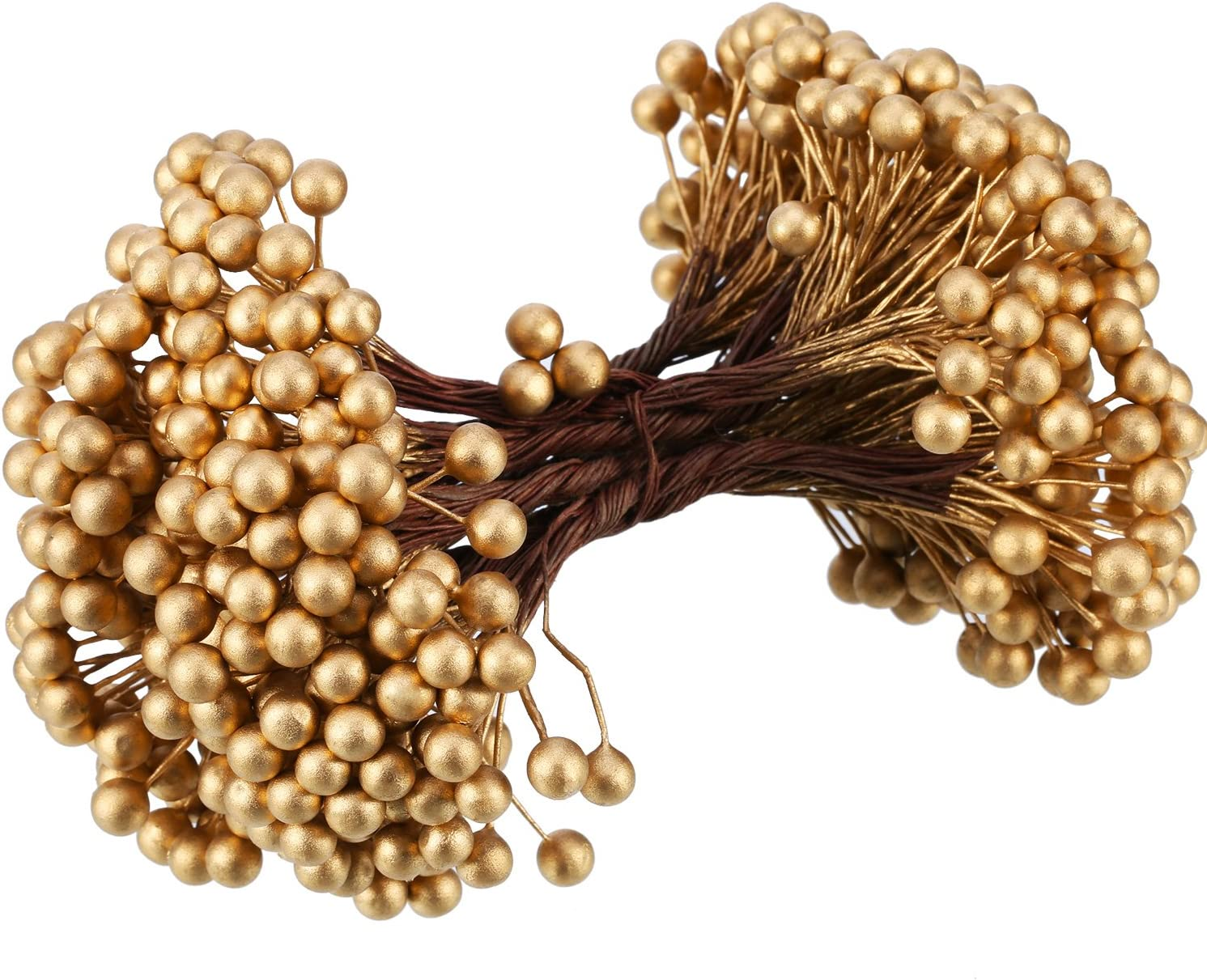 BBTO Artificial Holly Berries on Wire Stems, 250 Stems with 500 Pieces 8 mm Fake Berries for Tree Decorations Wreath Craft Use Wedding Party Favor (Gold)