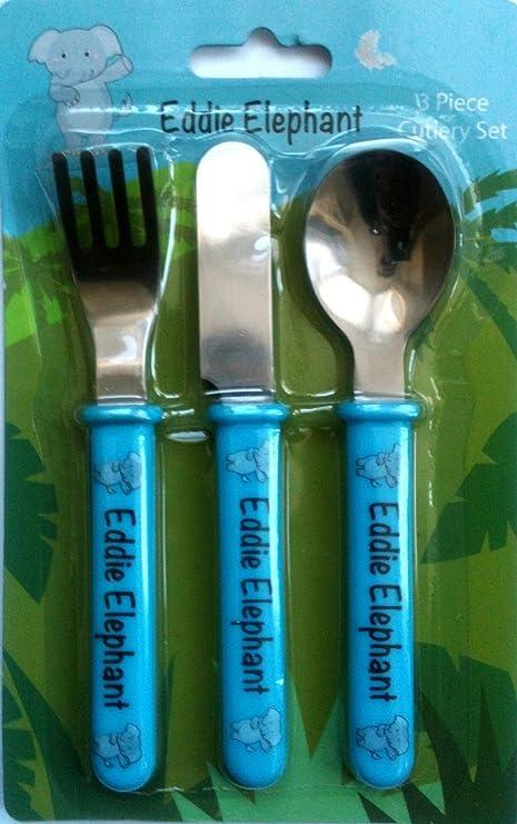 3 – Cubertería infantil bebé alimentación cuchara tenedor cuchillo Picnic niños Moo Mono alimentos azul azul