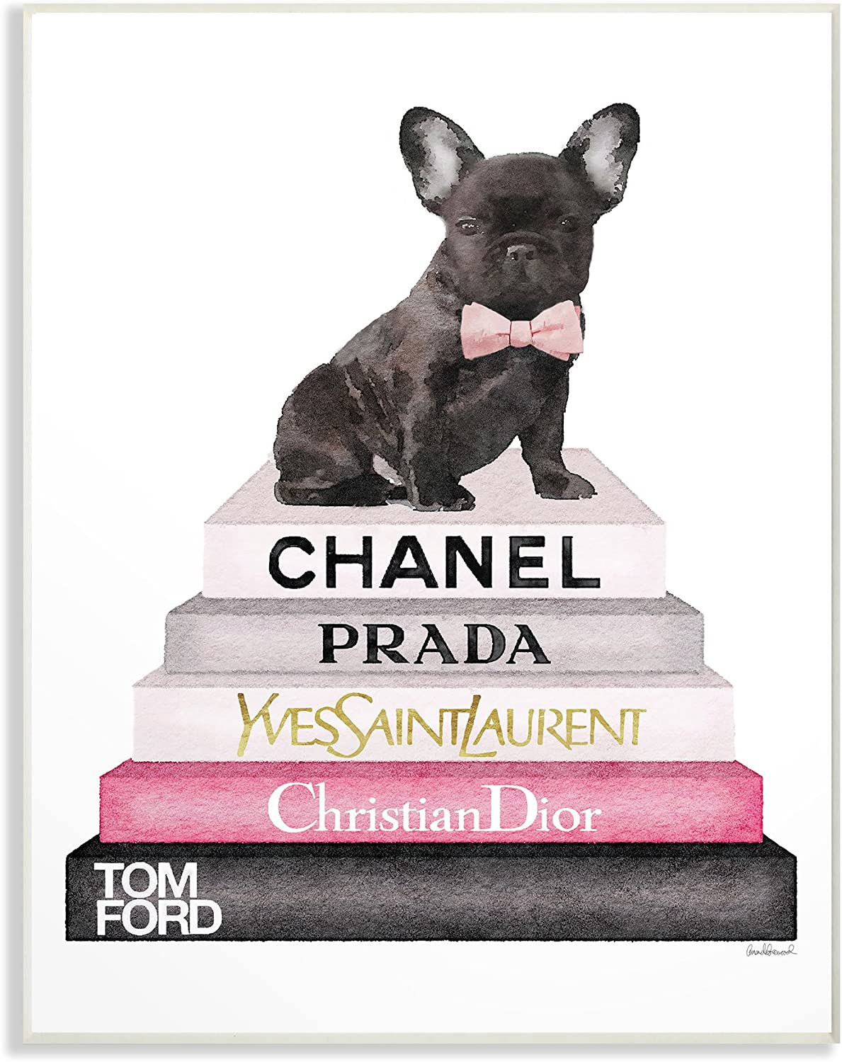 Stupell Industries Book Stack Fashion French Bulldog Wall Plaque Art, 13x19, Multicolor