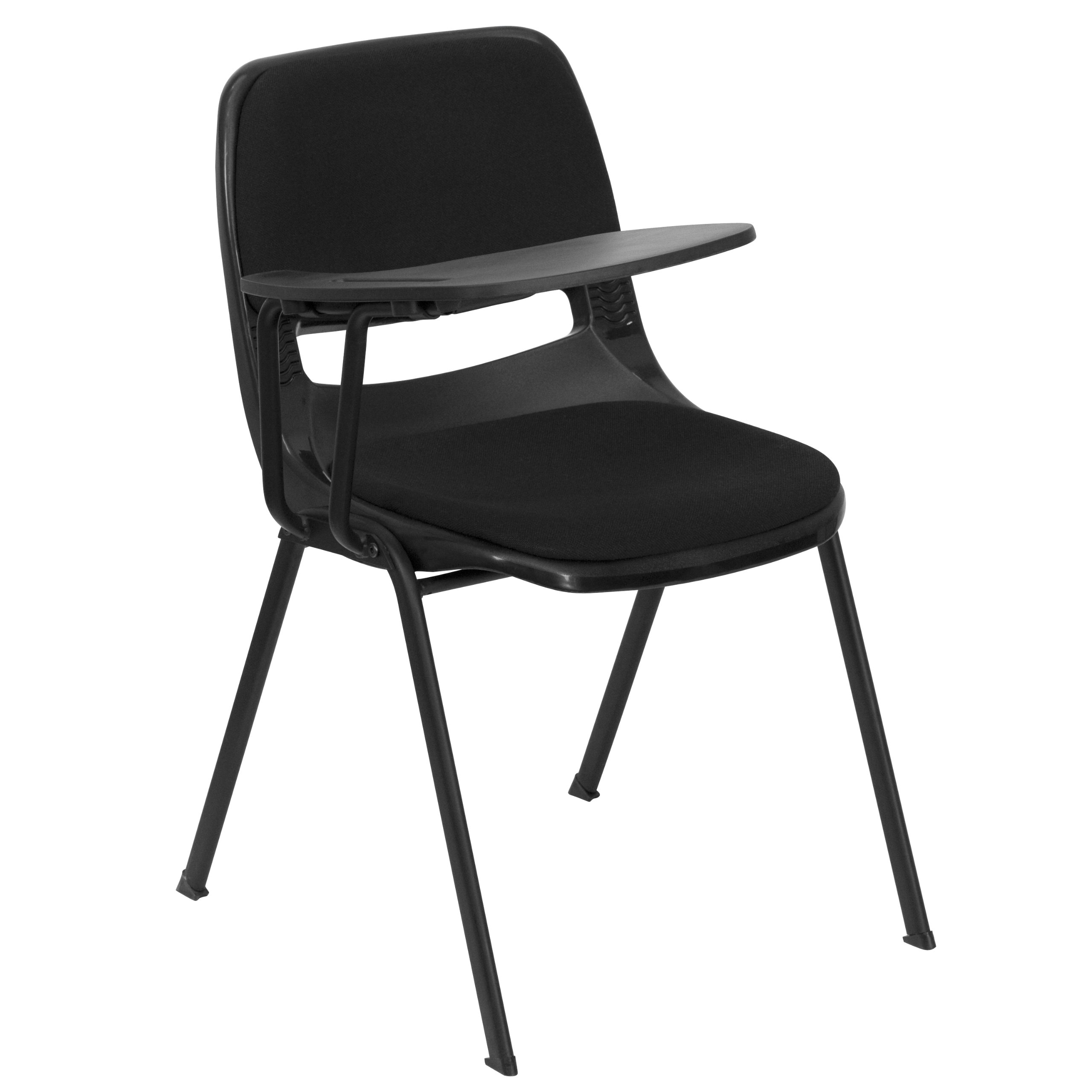 MFO Padded Black Ergonomic Shell Chair with Right Handed Flip-Up Tablet Arm