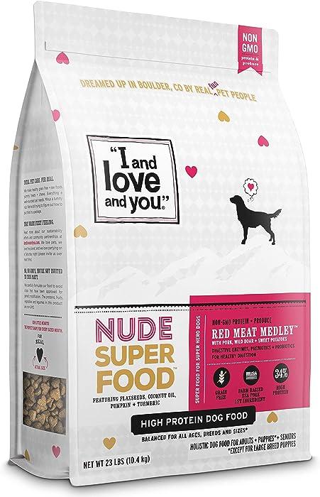I and love and you Nude Superfood Dry Dog Food - Grain Free Kibble, Pork, Prebiotics & Probiotics,23-Pound