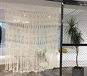 "Macrame Wall Hanging Boho-inspired Touch Window Curtain,52""Wx56""H"