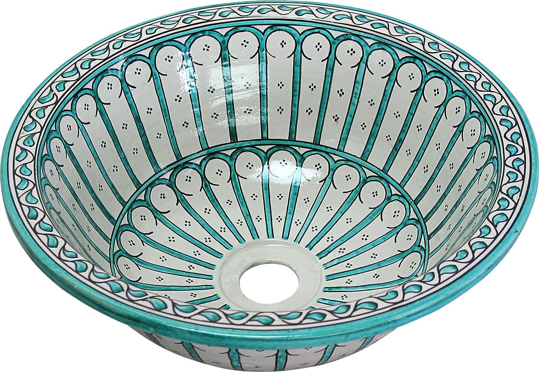 Fez / Alcazar di ceramica dipinta a mano marocchina il lavandino del bagno lavabo - Round, dipinta da dentro a fuori - di camma 40 H 16 cm Maison Andaluz