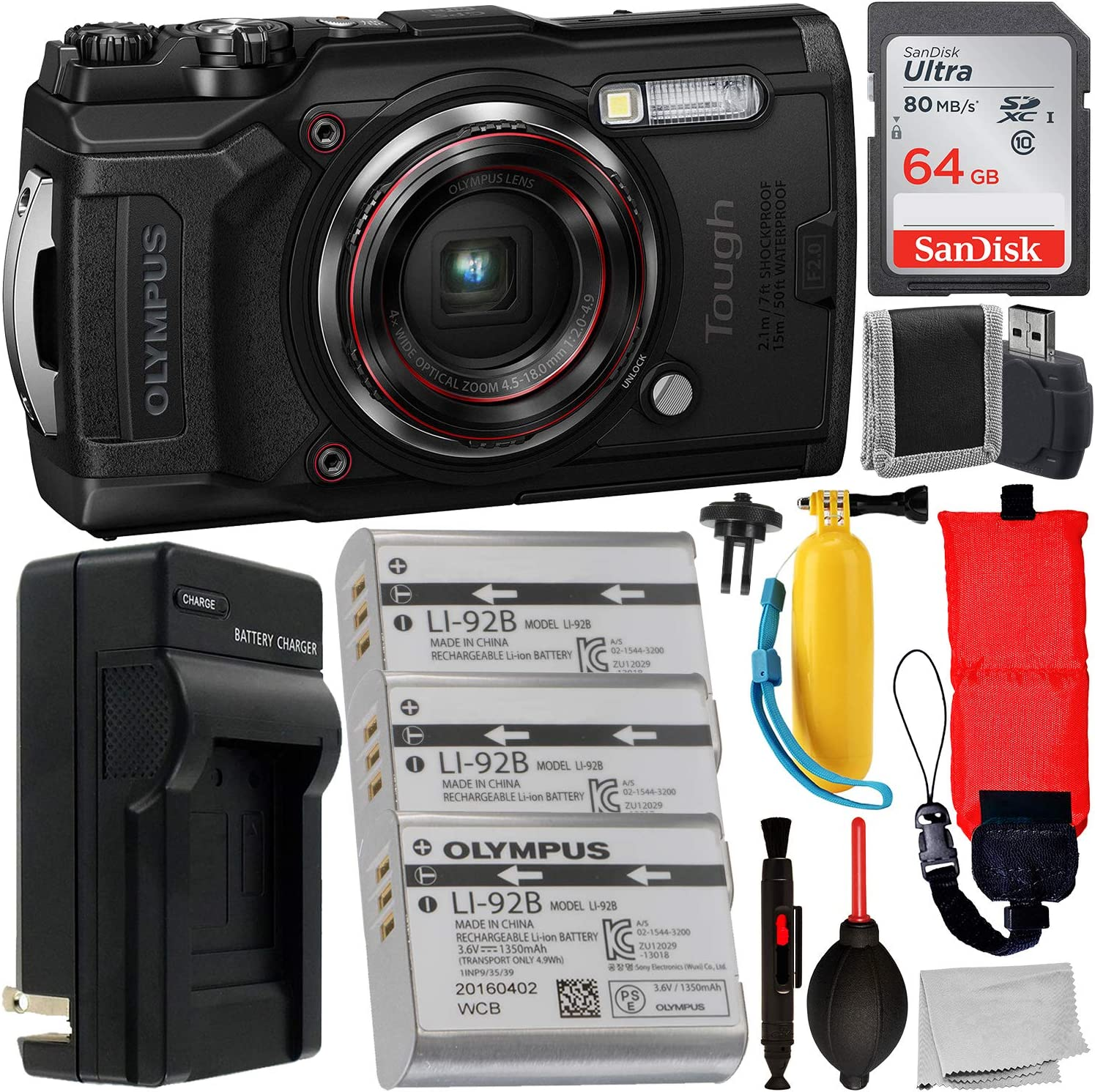 Olympus Tough TG-6 Digital Camera (Black) with Essential Accessory Bundle – Includes: SanDisk Ultra 64GB SDXC Memory Card + 2X Extended Life ...