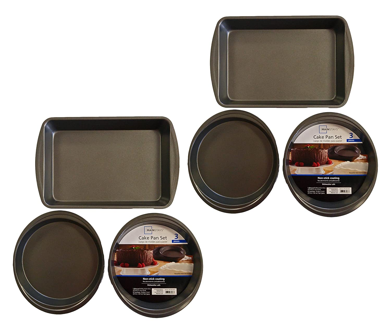 Amazon.com: Set of 3 Mainstays Non-Stick Cake Pan Set Rectangular 13