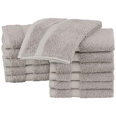 Pinzon Organic Cotton Washcloths (12 Pack), Marble Grey