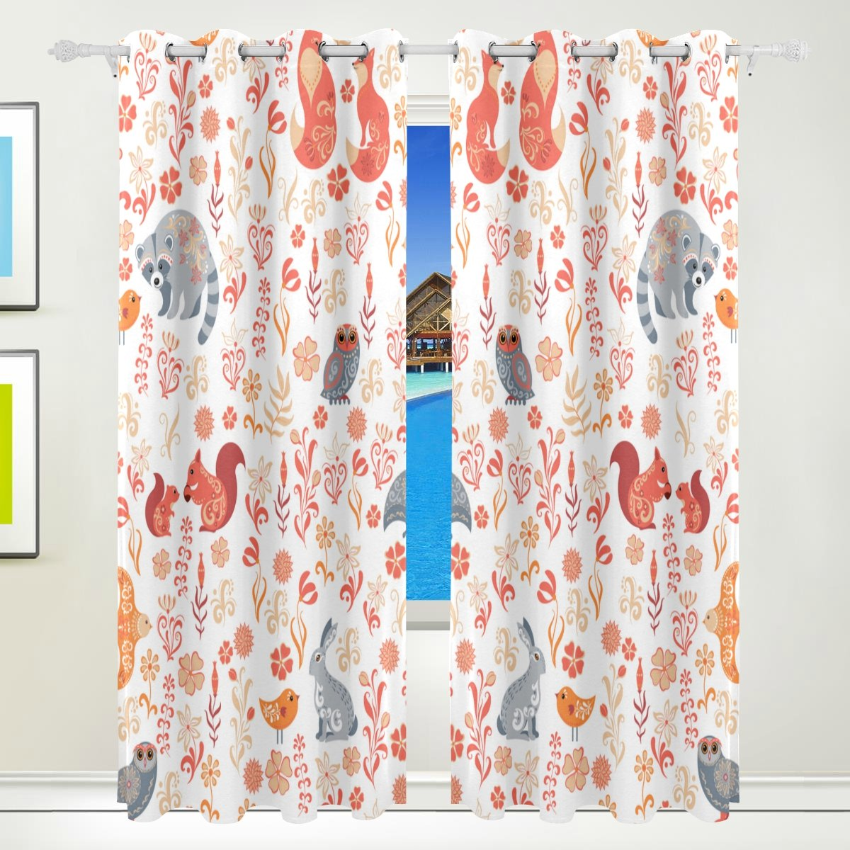 Vantaso Window Curtains 84 Inch Long Cute Forest Animal Pattern Fox Bird for Kids Girls Boys Bedroom Living Room Polyester 2 Pannels