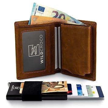 e69d5e18df0b9 WildCroco Kreditkartenetui - 2-in-1 Herren Portmonee mit herausnehmbaren  Kartenetui - Slim Wallet
