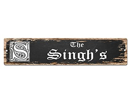 Amazon Com The Singh S Family Name Plate Sign Vintage Rustic Street