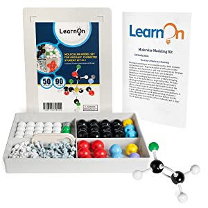 LearnOn Organic Chemistry Molecular Model Kit Set for Ochem Students with User Guide - 140 Pieces