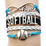 DOLON Infinity Love Softball Bracelet-Sports Team Cheering Fans Leather Handmade Friendship Gift-12 Colors