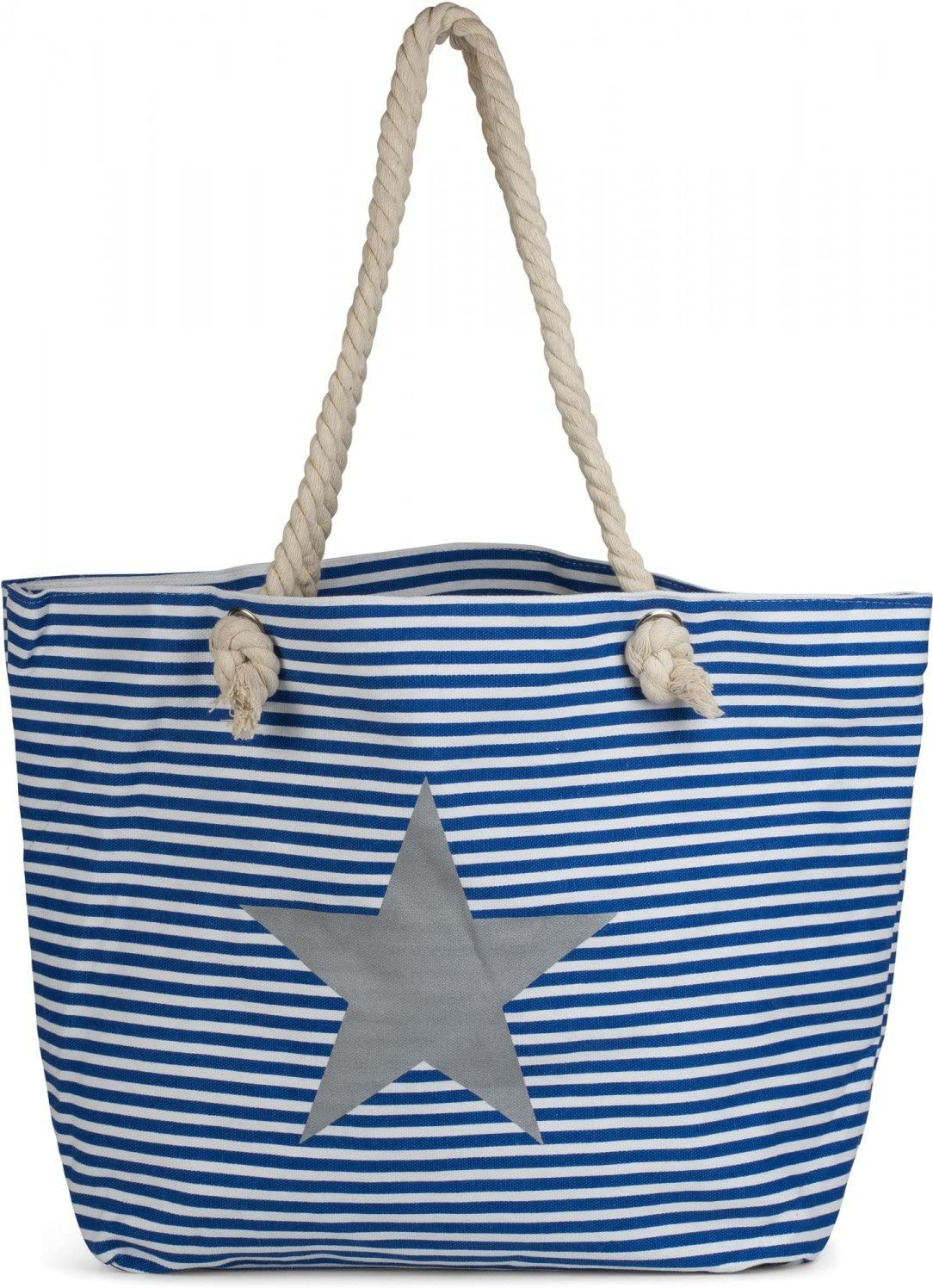 Color:Azul-Blanco//Plateado Bolso de ba/ño Bolso para Compras se/ñora 02012165 styleBREAKER Bolso para la Playa XXL en /óptica a Rayas con Estampado de Estrella y Cremallera