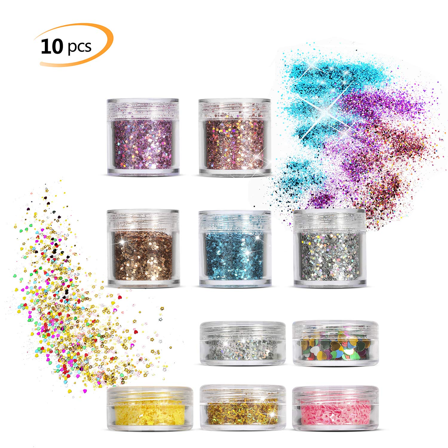 10 Boxs Face Glitter Set, Phogary Multicolour Chunky Glitter (10 Colors, 4 Different style Shapes Festival Set) for Cheeks/Bodies / Hair Cosmetic Glitter Nails Paillette Glitter