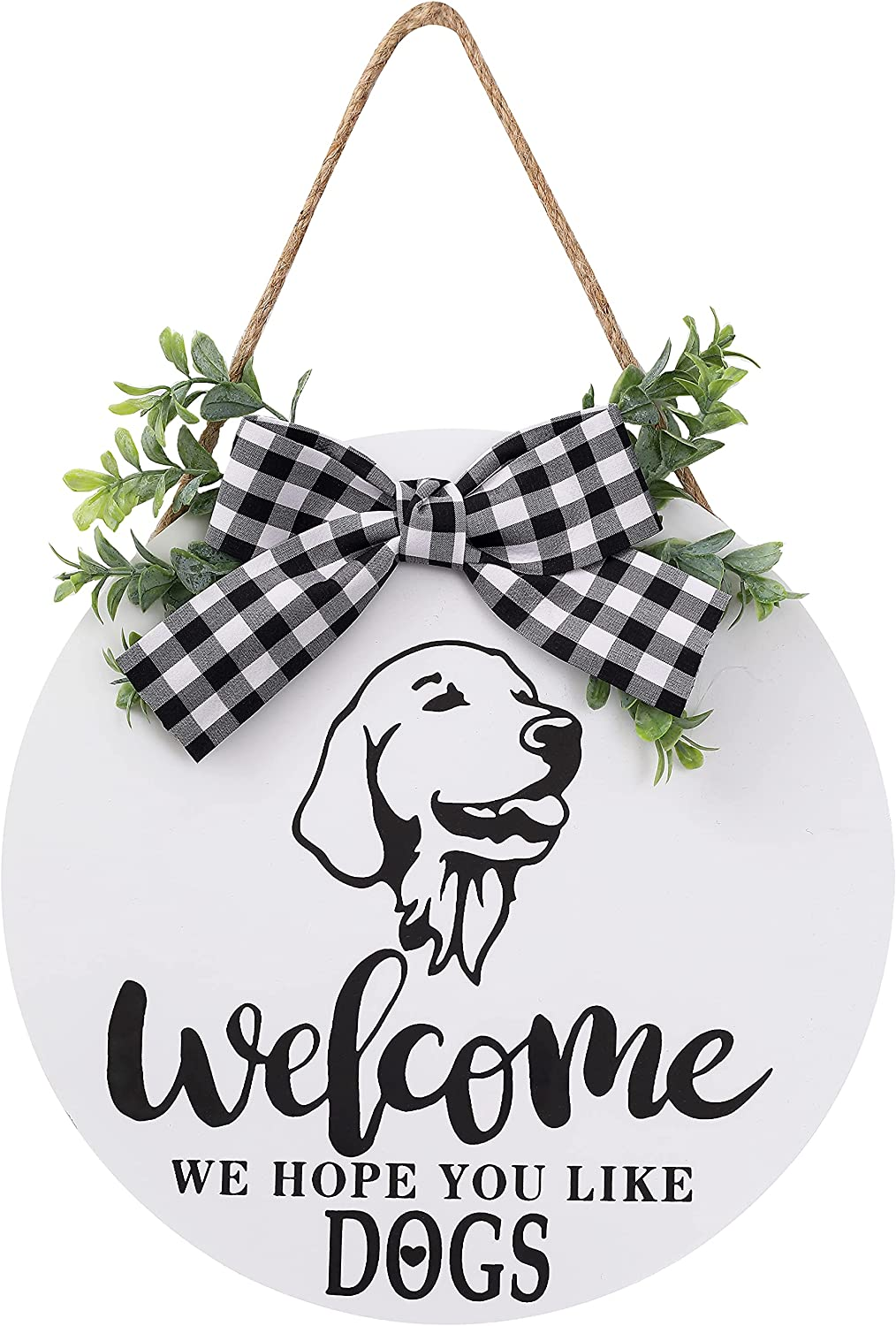 Welcome Sign Rustic Front Door Decor, We Hope You Like Dogs Round Wood Sign Hanging Welcome Farmhouse Porch Decoration Spring Summer Hello Door Sign Home Outdoor Wall Decor (White)