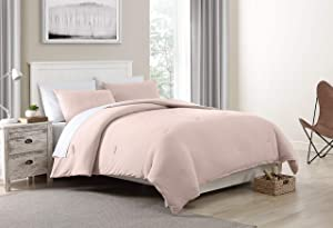 Morgan Home Fashions Jersey Knit Comforter Set- Soft Cozy and Lightweight Keeps You Warm and Comfortable All Year (Soft Pink, Twin)
