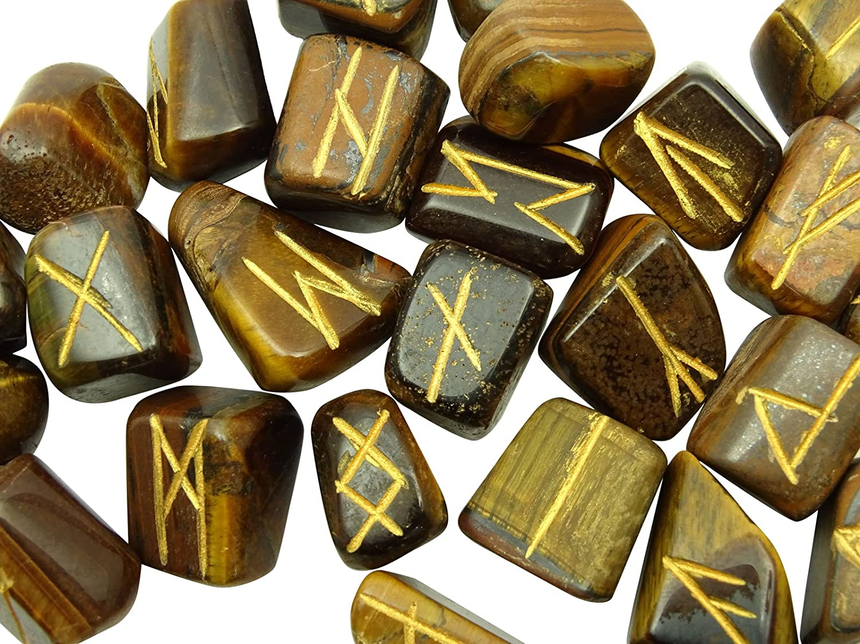 HARMONIZE Iron Tiger Eye Stone Tumbled with Rune Alphabet Symbol Reiki Healing Crystal Spiritual Gift