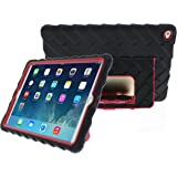 Gumdrop Cases Apple iPad Air 2 - Hideaway with Stand - Black - Red - Silicone - Rugged Shock Absorbing Protective Dual Layer Cover Case