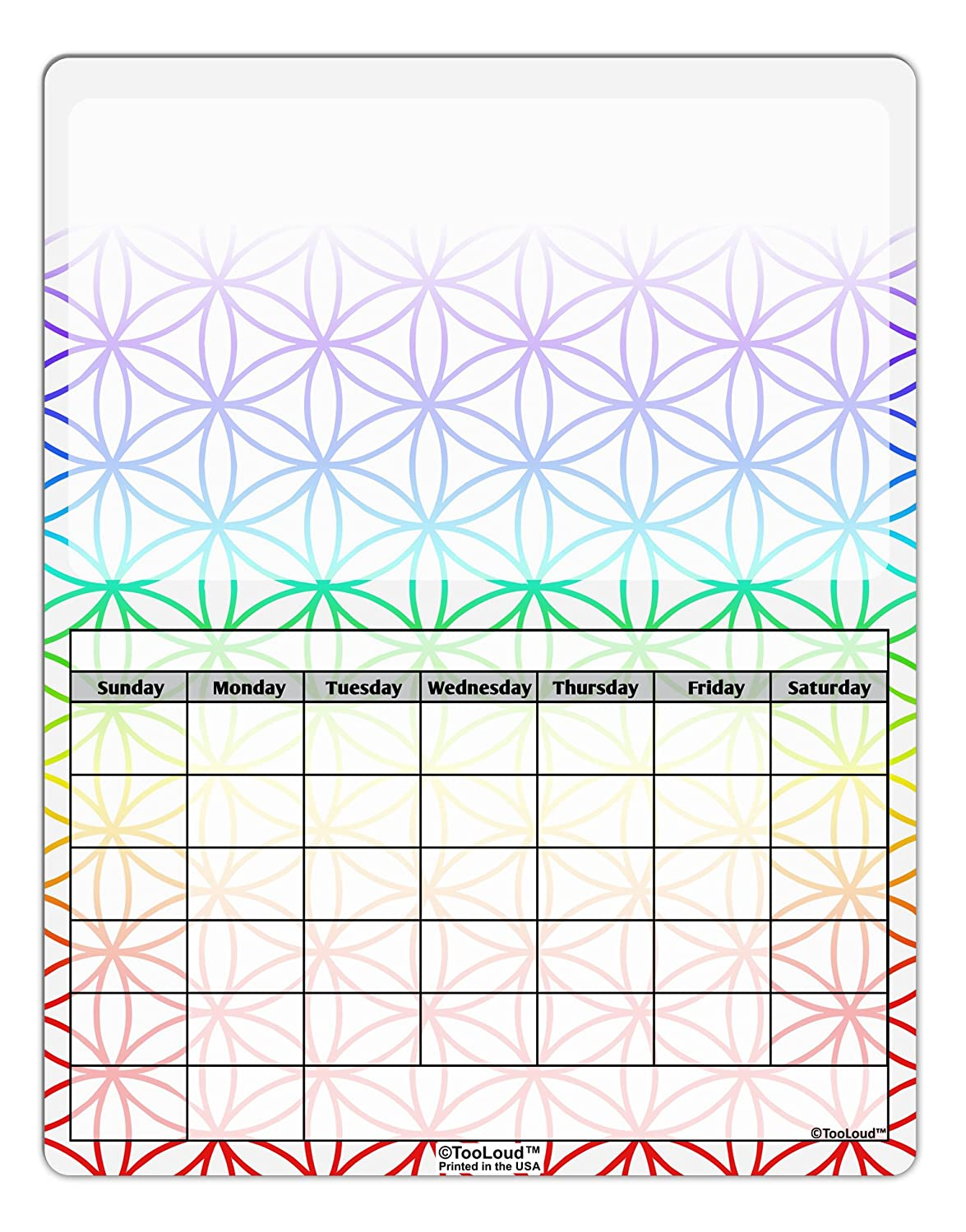 TooLoud Chakra Flower of Life on White Blank Calendar Dry Erase Board All Over Print