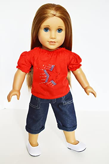 Amazon.com: RED STAR TOP AND BLUE DENIM CAPRIS FOR AMERICAN GIRL ...