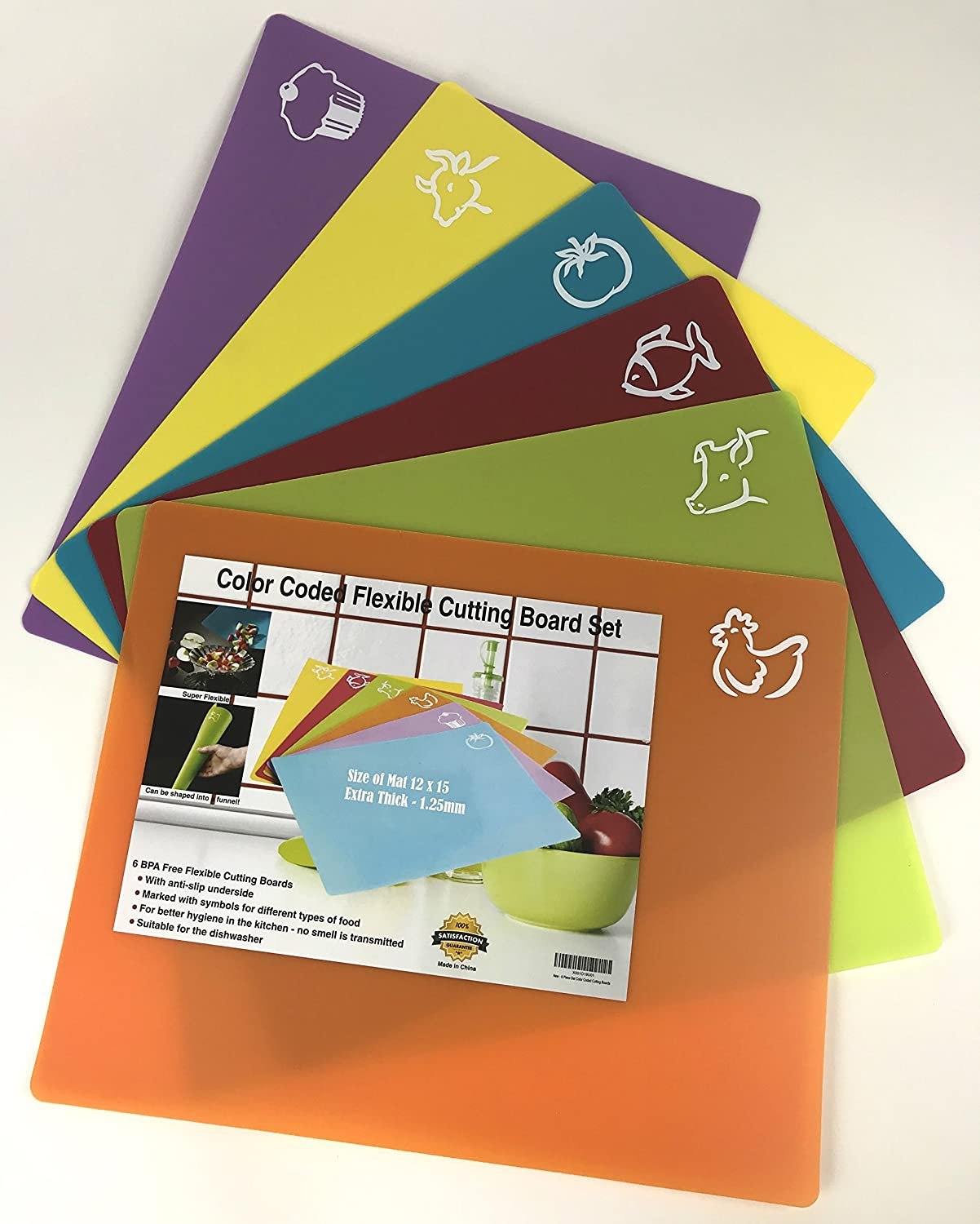 """Set of 6 Color Coded Flexible Plastic Cutting Boards for Kitchen with Food Logos (12x15"""") - BPA Free, Anti-Slip"""