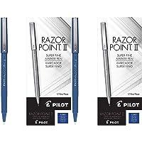 PILOT Razor Point II Fine Line Marker Stick Pens, Super Fine Point (0.2mm) Blue Ink, (11003), 2 Pack of 12