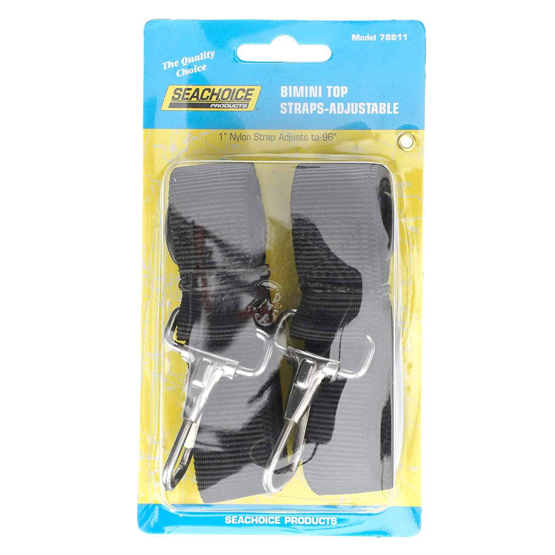 "Seachoice 78811 Adjustable Bimini Top Straps with Snap Hook Black 96/"""