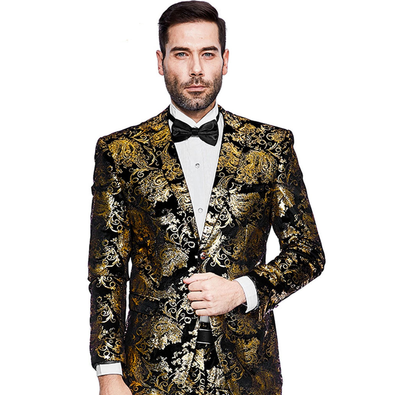 Mens Blazer Floral Dress Suit Jacket Party Tuxedos Slim Fit Luxury Notched Lapel Blazer(Golden, L)