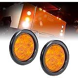 "2pc 4"" Amber Round LED Trailer Tail Light Kit [DOT FMVSS 108] [SAE I6] [Grommet & Plug Included] [IP67 Waterproof] [Park & Turn Signal] Marine Trailer Lights for Boat Trailer RV Trucks"