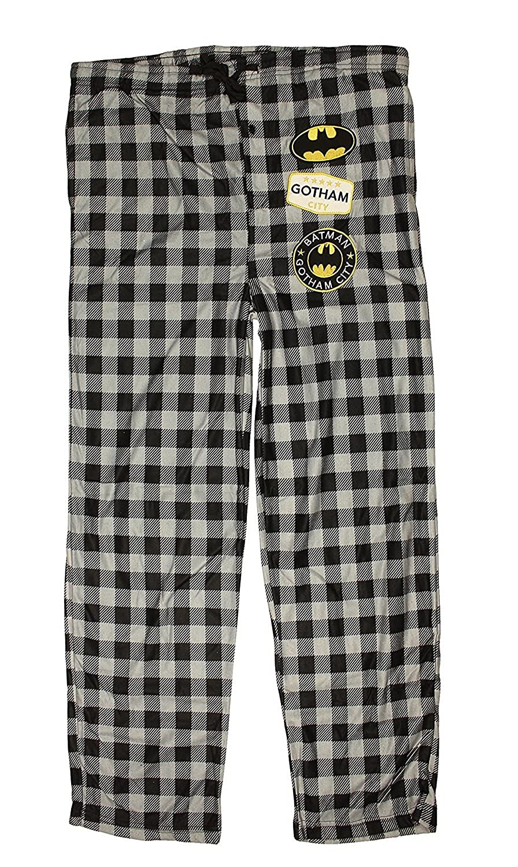 DC Comics Batman Gotham City Mens Big and Tall Flannel Buffalo Plaid Pajama Lounge Pants