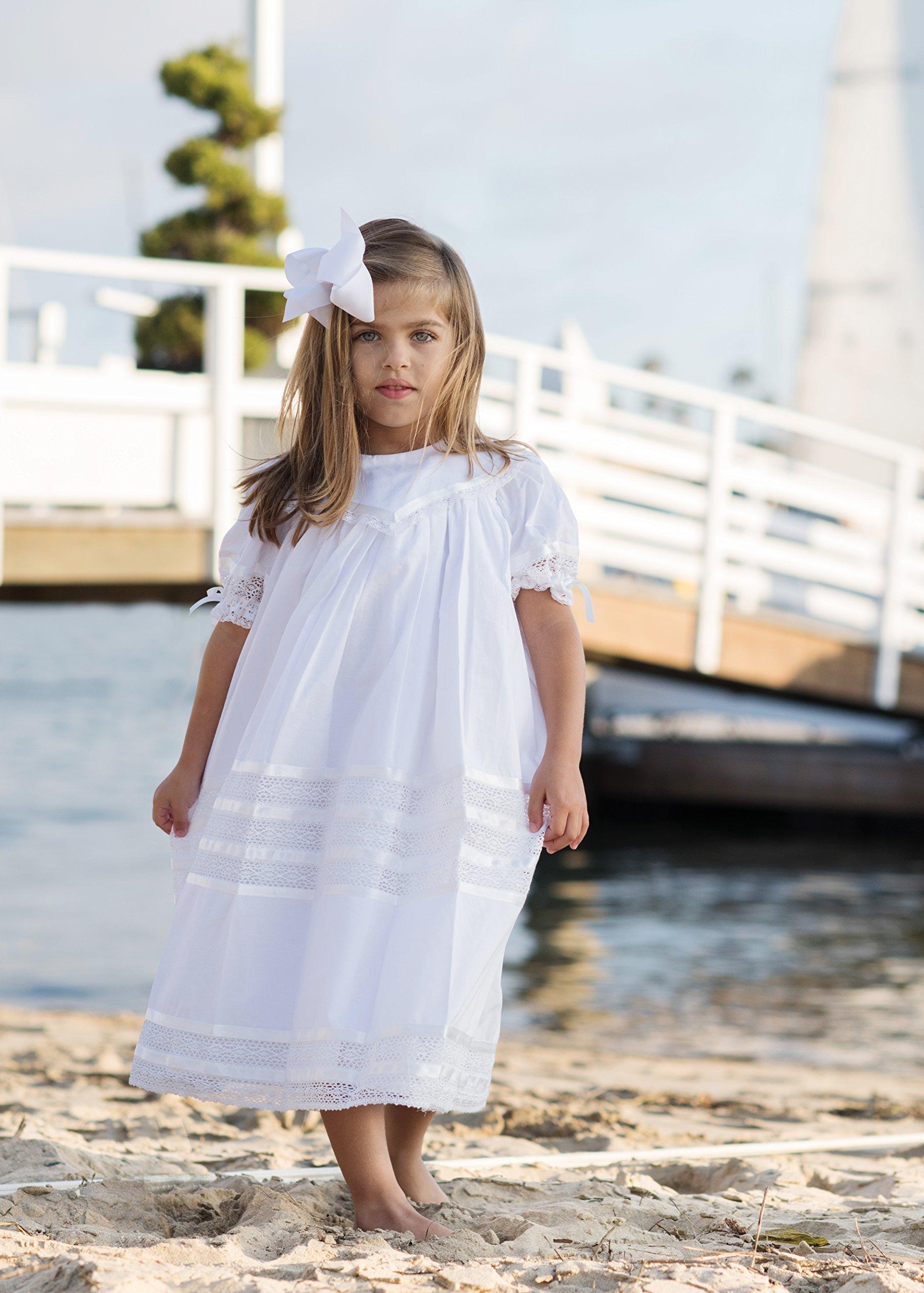 Lace Flower Girl Dress Heirloom Boho Vintage Portrait Dress Girls Ivory or White Strasburg Children
