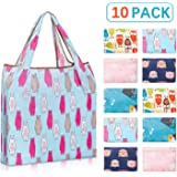 10 Pack Reusable Grocery Bags with Pouch,YIHONG Foldable Shopping Bags for Groceries and Shopping Trip,Cute Animal Patterns,Large Capacity and Machine Washable