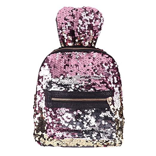 Amazon.com | iiniim Sequin Backpack, Girls Womens Cute Rabbit/Bear Ears Shiny Bling Glitter Shoulder Bag Casual Outdoor Travel Daypack Mixed Color One Size ...