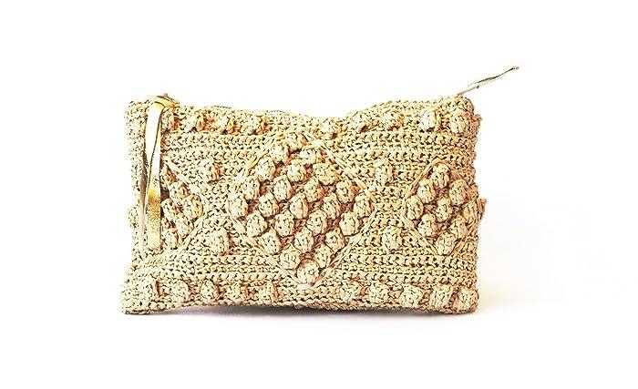 2bd576bf71 Straw beach bag natural raffia woven clutch purse women top zip beach  wallet gold leather finish