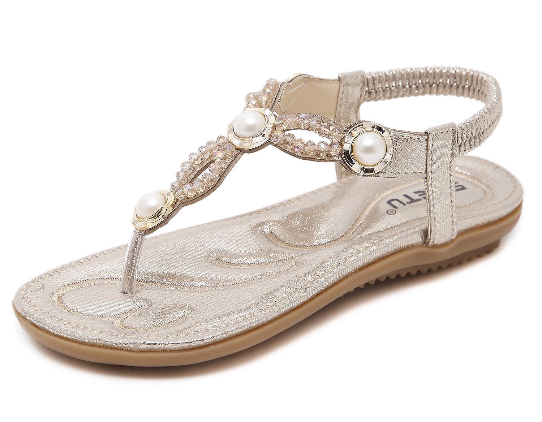 Women's Gold Pearl Design Elastic Thong Summer Flat Sandals