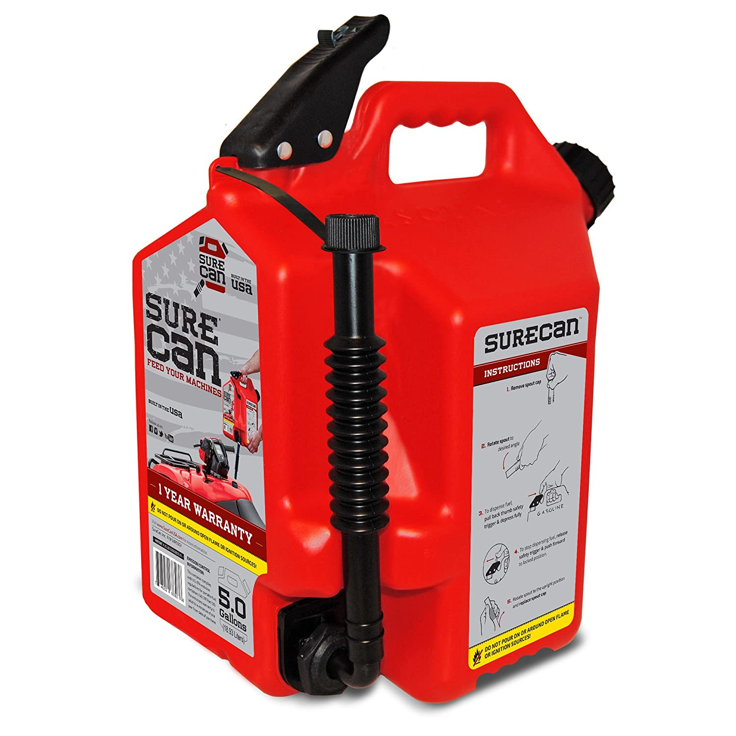 Surecan CRSUR5G1 Gasoline Can, 5.0 Gallon Surecan Inc