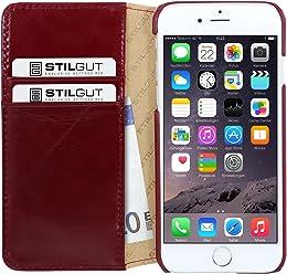 """StilGut Talis, custodia in pelle a portafoglio e funzione supporto per Apple iPhone 6s (4.7""""), rosso vinaccia"""