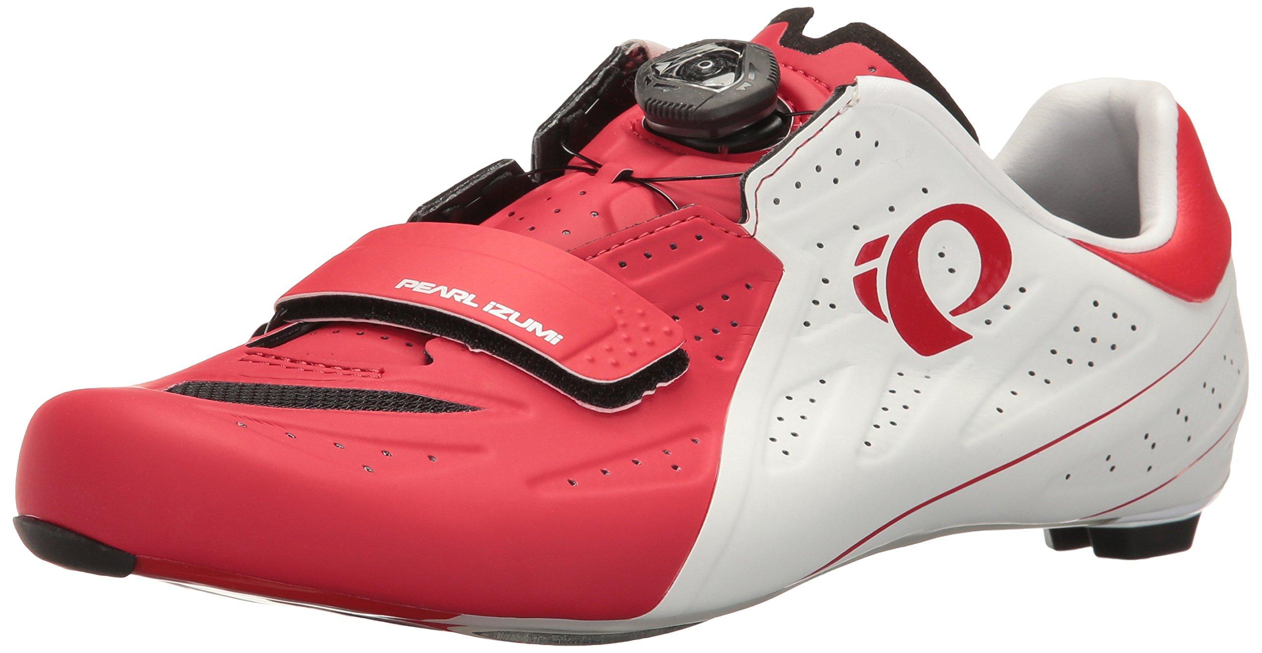 Pearl Izumi Men's Elite Road V5 Cycling-Footwear, White/True Red, 45 EU/10.8 D US